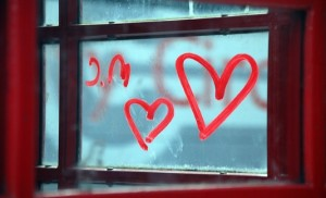 a heart on a window